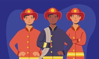 desenho vetorial de bombeiros vetor