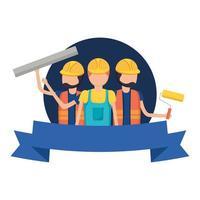 trabalhadores da construção civil com desenho vetorial de fita
