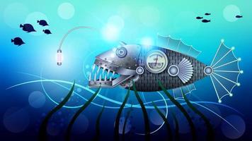 peixes mecânicos de metal dourado debaixo d'água, estilo steampunk vetor