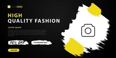 design de modelo de venda de moda para página de destino preta