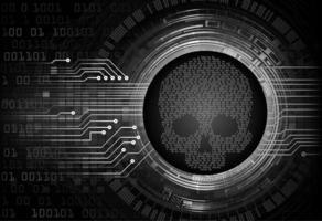 fundo de conceito de tecnologia futura de circuito cibernético de crânio
