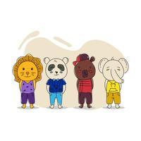 desenho de personagens de animais de bebê ilustrado desenhado à mão