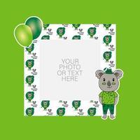 moldura de foto com desenho de coala e balões de desenho animado