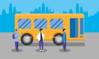 distanciamento social entre meninos com máscaras e desenho vetorial de ônibus vetor