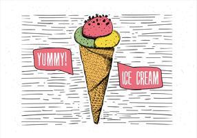 Ilustração desenhada mão do sorvete do vetor