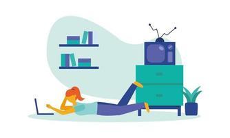 mulher com laptop em casa desenho vetorial vetor