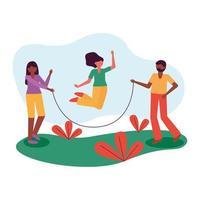 pessoas pulando laço em desenho vetorial de jardim vetor