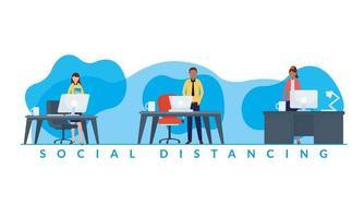 trabalho distanciamento entre mulheres e homens em design de vetor de mesas