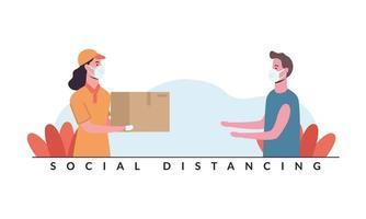 distanciamento social entre mulher e homem entregadores com desenho vetorial de máscaras vetor