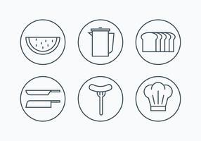 Ícones de estrutura simples de charcutaria vetor