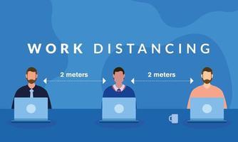 trabalho distanciamento entre homens com design vetorial de laptops vetor