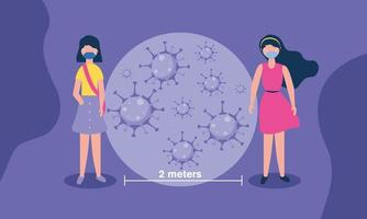 distanciamento social entre meninas com design de máscaras vetor