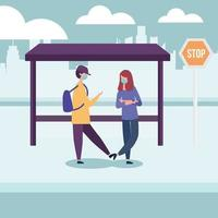 menino e menina da escola com máscara médica em desenho vetorial de ponto de ônibus