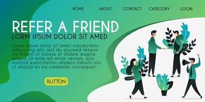 conceito de ilustração vetorial para indicar um amigo, as pessoas estão apertando as mãos com a palavra de indicar um amigo, pode usar para, página de destino, modelo, interface do usuário, web, aplicativo móvel, cartaz, banner, folheto vetor
