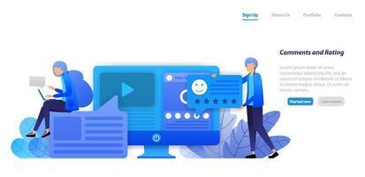 fornecer comentários, classificações, curtidas e feedback para vídeos e status do conteúdo de influenciadores de mídia social. conceito de ilustração plana para página de destino, web, interface do usuário, banner, panfleto, cartaz, modelo, plano de fundo vetor