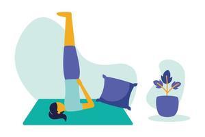 mulher fazendo ioga no tapete em casa desenho vetorial vetor