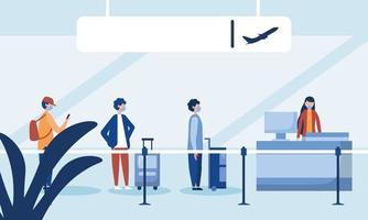 mulher na recepção do aeroporto e homens com máscaras esperando desenho vetorial vetor