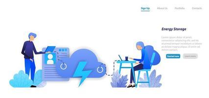 economia de energia e armazenamento em negócios de banco de dados em nuvem para acesso pessoal de dados de comunicação sem fio. conceito de ilustração plana para página de destino, web, interface do usuário, banner, panfleto, cartaz, modelo, plano de fundo vetor
