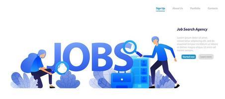 agentes que encontram empregos para candidatos a emprego e empresas que precisam de trabalhadores profissionais para entrevista de carreira. conceito de ilustração plana para página de destino, web, interface do usuário, banner, panfleto, cartaz, modelo, plano de fundo vetor
