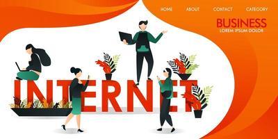 ilustração vetorial ou página da web com laranja e amarelo. um grupo de pessoas que se comunicam usando a tecnologia da Internet em torno das palavras internet um homem que estava de pé estava segurando um laptop vetor