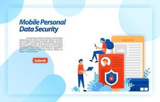 proteger os dados pessoais do usuário móvel para evitar hackers e uso indevido de crimes cibernéticos. bloquear e proteger os dados privados. conceito de ilustração vetorial para página de destino, ui ux, web, aplicativo móvel, cartaz, banner, anúncios vetor