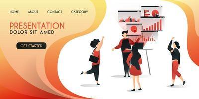 vendedores que estão apresentando seu trabalho aos clientes utilizam a tecnologia mais recente, conceito de ilustração vetorial, pode ser usado para apresentação, web, banner ui ux, página de destino vetor