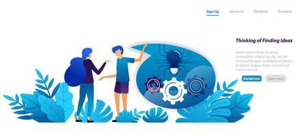 conceito do mecanismo de pensar e encontrar ideias, comunicação e diálogo para inspiração. conceito de ilustração plana para página de destino, web, interface do usuário, banner, panfleto, cartaz, modelo, plano de fundo vetor