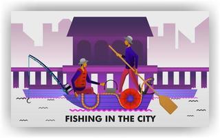 pescadores pescam na orla do porto, carregando canoas e equipamentos de pesca tradicionais. pode ser usado para, página de destino, site, aplicativo móvel, pôster, folheto, cupom, cartão-presente, smartphone, web design vetor