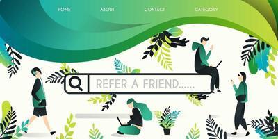 conceito de ilustração vetorial para indicar um amigo, grupo de pessoas que se movem no mecanismo de pesquisa com a palavra indicar um amigo, pode usar para, página de destino, modelo, interface do usuário, web vetor