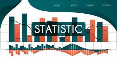 aprender mais sobre estatísticas e gráficos em economias em desenvolvimento, negócios e conceito de ilustração vetorial de empresas, pode ser usado para apresentação, web, banner ui ux, página de destino vetor