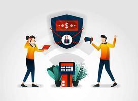 Personagem plano. O banco garante a segurança dos dados financeiros do cliente. o setor financeiro também trabalha com consultores para auditar sistemas de alarme de segurança adquiridos de agências de segurança vetor