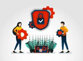 Personagem plano. empresas provedoras de serviços de segurança fornecem treinamento de oficial de segurança para melhorar o monitoramento dos serviços de segurança e reduzir a ameaça à segurança para cada produto, ferramentas e mecanismos de segurança