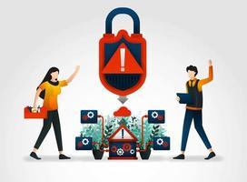 Personagem plano. sistema de aviso alerta os desenvolvedores sobre ameaças de segurança. empresa de segurança implantou técnicos para monitoramento e vigilância de produtos e serviços de segurança com verificação de segurança de rede