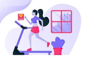 meninas se exercitam correndo em uma esteira dentro de casa, vestindo roupas esportivas sensuais para queimar calorias e nutrir o batimento cardíaco com vistas da cidade. conceito de ilustração vetorial plana para página de destino, site vetor