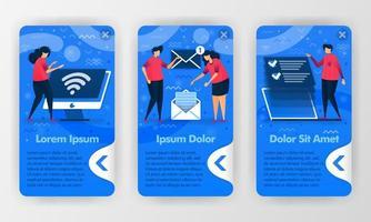 introdução de aplicativos de negócios móveis para trabalhar digitalmente com ilustração plana de desenho animado. pode usar para aplicativo móvel, ui ux, plano de fundo do smartphone, introdução de boas-vindas, aplicativos iniciados, pôster, promoção vetor