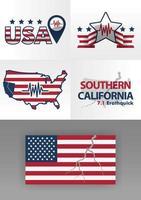 logotipo do terremoto no sul da Califórnia 7,1 na escala Richter. Logotipo da bandeira dos Estados Unidos com rachaduras. 4 logotipos ilustrando desastres com estrelas, logotipos de linha e gráficos sísmicos. desastres na américa vetor