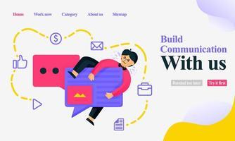 aplicativos móveis e de página de destino para criar comunicação com o design de um homem em um chat de balão ou chat de bolha e ícone de mídia social. conceito de ilustração vetorial plana para web, cartaz, site vetor
