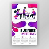 cartaz de conceito de design de reunião de negócios com ilustração plana dos desenhos animados. panfleto negócios panfleto brochura capa de revista design layout espaço para promoção e marketing, modelo de impressão vetorial em tamanho A4 vetor