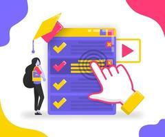 ilustração de como escolher um departamento ou trabalho para alunos e graduados. aplicativo de planejamento de graduação e carreiras para programa de doutorado. conceito de vetor plano para página de destino, site, celular, interface do usuário