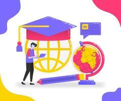 ilustração de educação e intercâmbio estudantil. aprenda com vários lugares. aprendizagem online e universidade para estudar. conceito de vetor plano para página de destino, site, celular, aplicativos ui, ux, banner, pôster