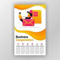 cartaz de conceito de design de cooperação empresarial com ilustração plana dos desenhos animados. panfleto negócios panfleto brochura capa de revista design layout espaço para promoção e marketing modelo de impressão vetorial tamanho A4 vetor