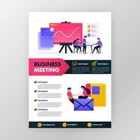 cartaz de reunião de negócios com ilustração plana dos desenhos animados. flayer panfleto de negócios, brochura, capa de revista, design, layout, espaço para publicidade, promoção e marketing, modelo de impressão vetorial em tamanho A4 vetor