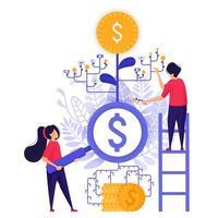 juros bancários e investimento. procure fundo mútuo e opção de moeda para obter o máximo de lucro para retorno sobre o investimento roi. ilustração em vetor personagem conceito para página de destino da web, aplicativos móveis, cartão