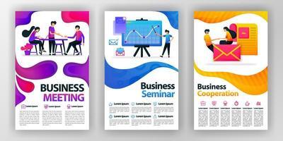 cartaz de conceito de design de negócios com ilustração plana dos desenhos animados. panfleto negócios panfleto brochura capa revista design layout espaço para promoção, publicidade, marketing, modelo de impressão vetorial em tamanho A4 vetor