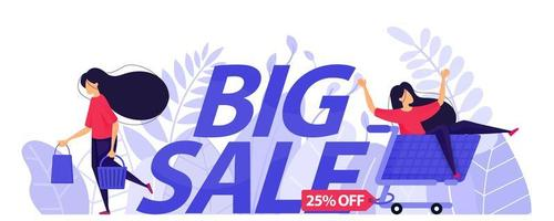 25 cartazes de grande venda para e-commerce. menina andando de carrinho e compras felizes. ilustração em vetor personagem conceito para página de destino da web, banner, aplicativos móveis, cartão, ilustração de livro