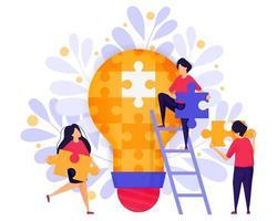 trabalho em equipe nos negócios. as pessoas cooperam, resolvem quebra-cabeças para encontrar ideias e soluções na construção de um negócio inicial. ilustração em vetor personagem conceito para página de destino da web, banner, aplicativos móveis