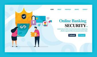 desenho de vetor de página de destino de segurança de banco online. fácil de editar e personalizar. conceito de design moderno plano de página da web, site, página inicial, aplicativo móvel, interface do usuário. personagem cartoon ilustração estilo simples.