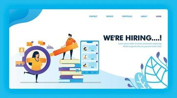 estamos contratando um novo projeto de conceito de pós-graduação para a página de destino. personagem de desenho animado segurando a lupa para ver detalhes dos dados de candidatos a emprego. pode usar para página inicial, site, web, aplicativo para celular, pôster