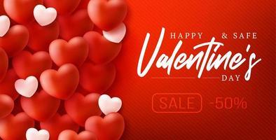 feliz e seguro fundo de venda de dia dos namorados vetor