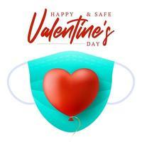 lindo coração vermelho realista com máscara médica azul vetor